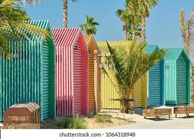 Colored beach bathing cabins in Dubai, United Arab Emirates