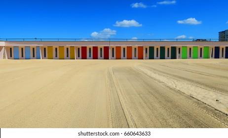 COLORED BEACH HUTS IN THE TOUQUET , PAS DE CALAIS, HAUTS DE FRANCE , FRANCE