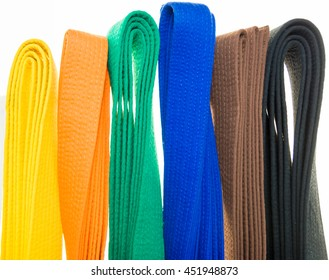 colored belts in martial arts, and a part of judo uniform, for an almost abstract background