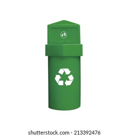 Colored Bins For Collection Of Recycle Materials on White Background