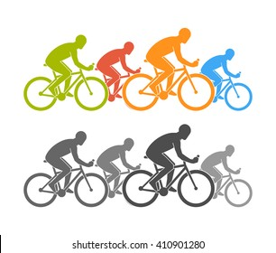 Colored and black flat cycling logo and icon. Modern figures cyclist. Cycling symbol, label and badge.