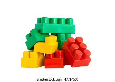 Colored blocks for building houses for the children.