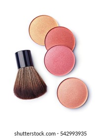 Colored blush and makeup brush isolated on white
