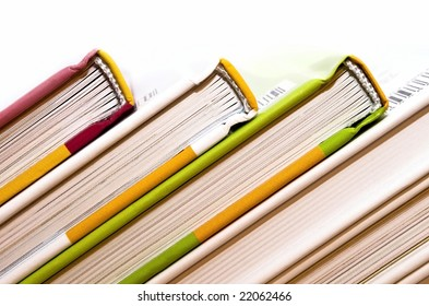 Colored books each other bust.