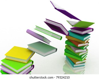 Colored books  in pile isolated on white