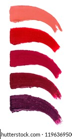 Colored Brush Strokes for Makeup Isolated on White Background. Lipstick Stroke Set. Close-up.