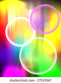 colored bubbles over blurred colors