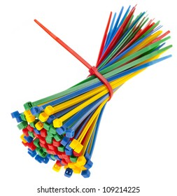 colored cable ties isolated against white background