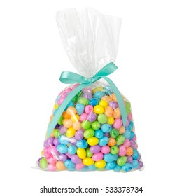 Colored candy bag isolated on white background