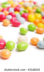 colored candy on white