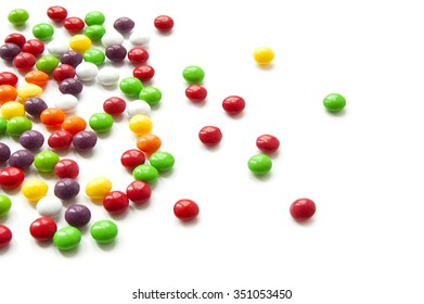 Colored candy on a white background