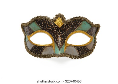 colored Carnival mask isolated on white background.