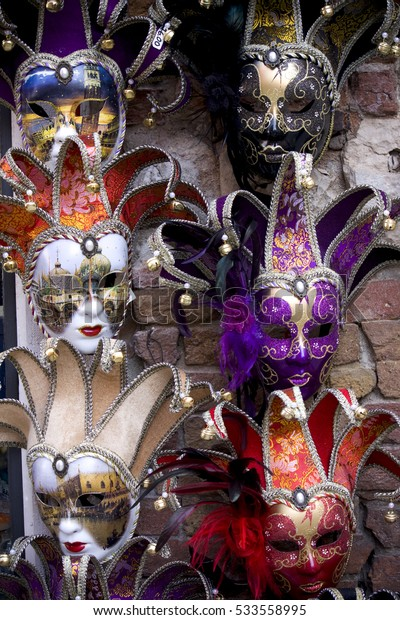 Colored carnival masks exposed during the celebration of Venice traditional carnival.