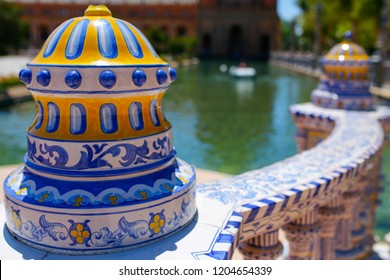 Colored ceramic decoration details at Plaza de Espana, Seville, Andalusia, Spain. Balustrade top