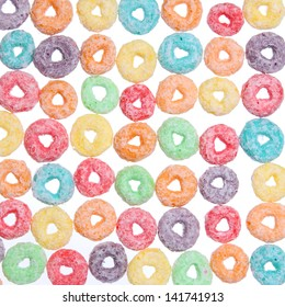 colored cereal loops, texture