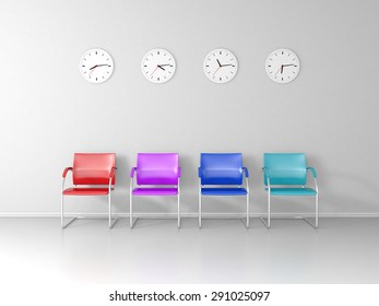 Colored chairs and four different clocks in the waiting room