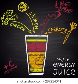 Colored chalk painted illustration of juice with ginger, lemon, beets and carrots. Infographic. Fitness theme.