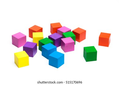 colored children cubes isolated on white background