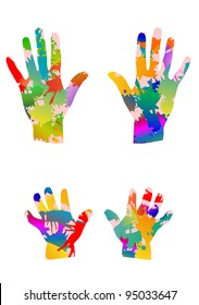 colored children hands and adults hands