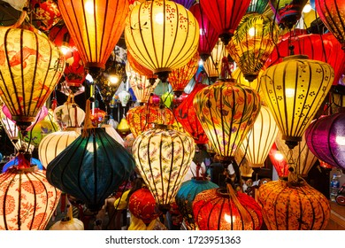 Colored Chinese lamps hanging from the ceiling