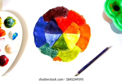 Colored circle drawn by hand of child draws on white paper. Closeup view from above. Children create, artist, paints, creativity, vacation, training, drawing courses, painting, color science.