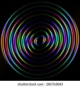 colored circles on a black background. many lines and many colors
