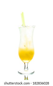Colored cocktail with lemon isolated on white background