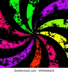 Colored colourful dark rainbow converging swirl decor abstraction