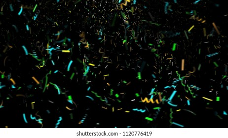 colored confetti isolated on black background 3d