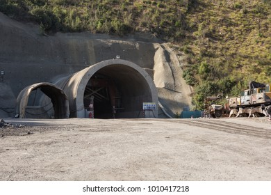 Colored construction tunnel