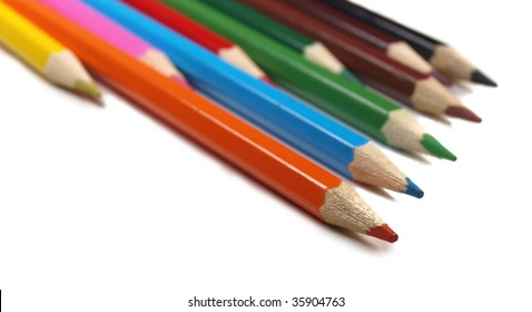 Colored crayons isolated on white