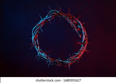 Colored Crown Of Thorns On A Dark Background - Shutterstock ID 1680592627