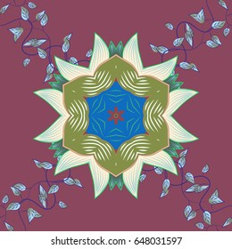 Colored design abstract mandala sacred geometry illustration on a blue background.