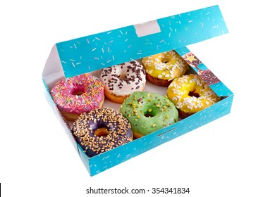 Colored donuts in the blue box on a white background