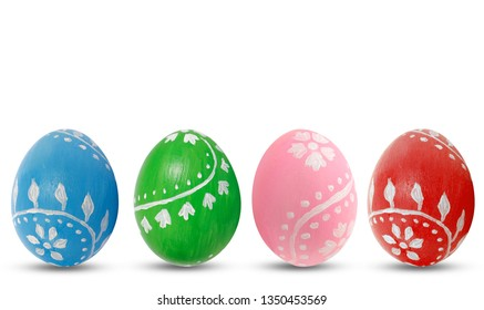 Colored Easter eggs on white background. Hand painting.