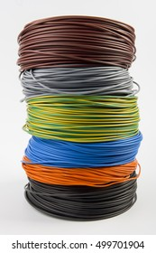 colored electric cables skeins