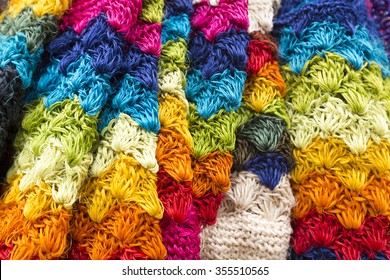 Colored fabrics and clothes for sale in Candelaria, the historic neighborhood of Bogota. Colombia