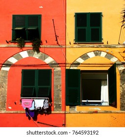 Colored facade with four windows