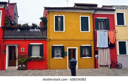 Colored facades of houses on the island of Burano near Venice