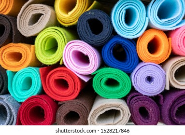 Colored felt rolls at shop