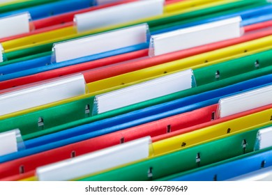 Colored File Folder with Tabs Close Up.