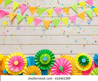 Colored flags garland, gifts and rosette