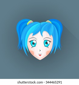 colored flat design japanese anime manga girl face big blue eyes cyan hair illustration isolated dark background long shadow