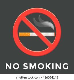 colored flat design no smoking warning sign isolated sticker illustration on dark background