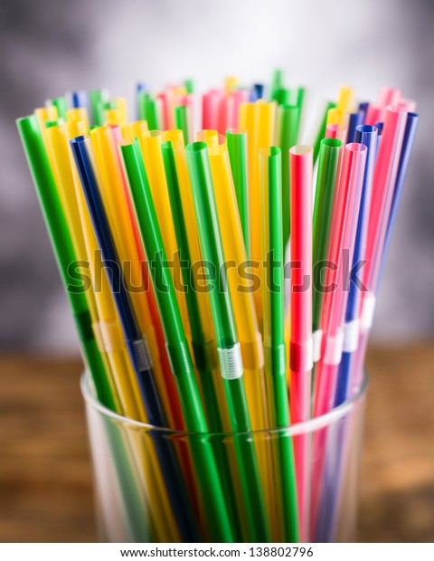Colored Flexible Straws Glass Stock Photo (Edit Now) 138802796