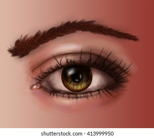 colored fragment of the human body figure, eyes, detailed illustration