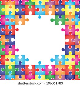Colored frame made up of pieces of puzzle. Raster version