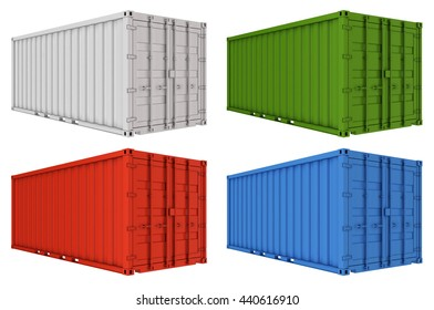 Colored freight shipping containers isolated on white. 3d render.