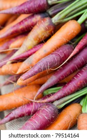 Colored fresh carrots