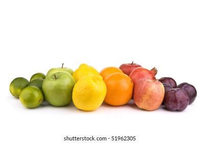 Colored fruits isolated on white background